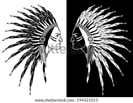 Native American man face in profile. feathers on head, graphic design. Inversion, black and white, negative - stock vector