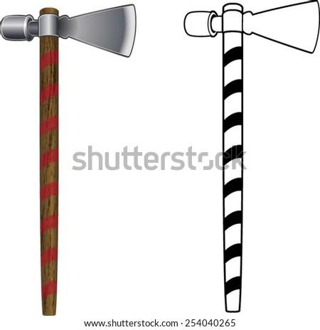 native American Tomahawk axe - stock vector