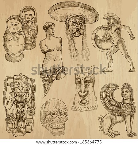 Native and old art around the World (set no.9). Collection of hand drawn illustrations (originals, no tracing). Each drawing comprises of two layers of outlines,the colored background is isolated. - stock vector