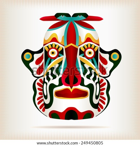 Native Indian American style mask. Ancient tribal religious mask Illustration. Aztec ornaments on totem souvenir. Vector file is EPS8. - stock vector