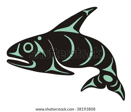 Native Whale Vector - stock vector