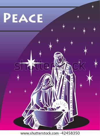 Nativity Christmas Card 1 Vector Illustration. - stock vector