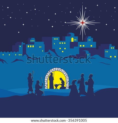 Nativity scene. Christmas. Bethlehem. Mary, Joseph and small Jesus. The shepherds and the wise men came to worship Jesus - stock vector