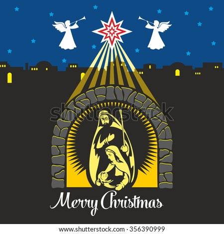 Nativity scene. Christmas. Mary, Joseph and small Jesus. Night Bethlehem - stock vector