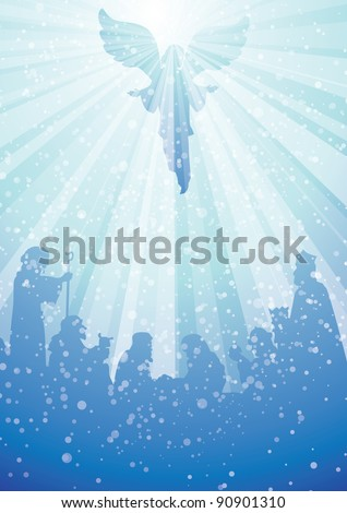 nativity scene with angel in heavenly light above baby jesus - stock vector