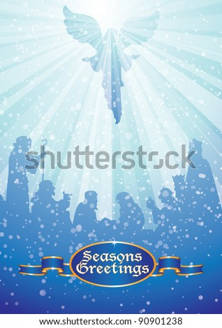 nativity scene with angel in heavenly light above baby jesus and greetings message - stock vector