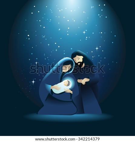 Nativity scene with Holy Family - stock vector