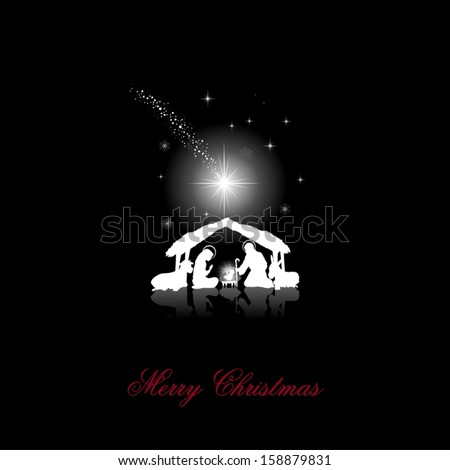 nativity scene with the Holy Family white silhouettes on a black background -transparency blending effects and gradient mesh-EPS10 - stock vector
