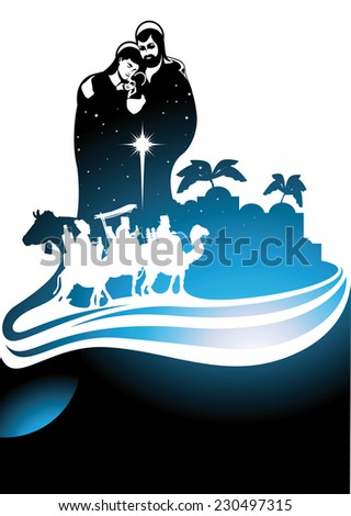 Nativity scene with the three wise men and the child Jesus. - stock vector