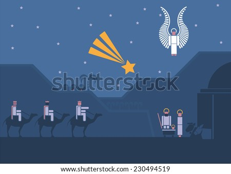 Nativity scene with the three wise men and the child Jesus. Pictogram style.  - stock vector