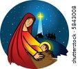 Nativity - Virgin Mary with baby Jesus - stock vector