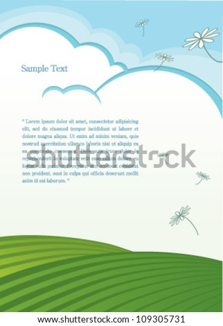 natural background with dandelion - stock vector