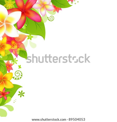 Natural Background With Flower, Isolated On White Background, Vector Illustration - stock vector