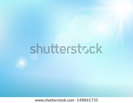 Natural background with sun is shining behind the clouds  - stock vector