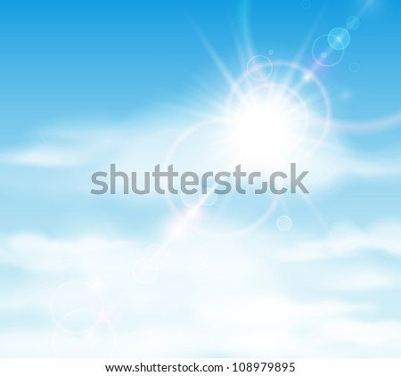 Natural background with sun is shining behind the clouds. Eps 10 - stock vector