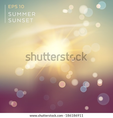 Natural background with sunset in vector - stock vector