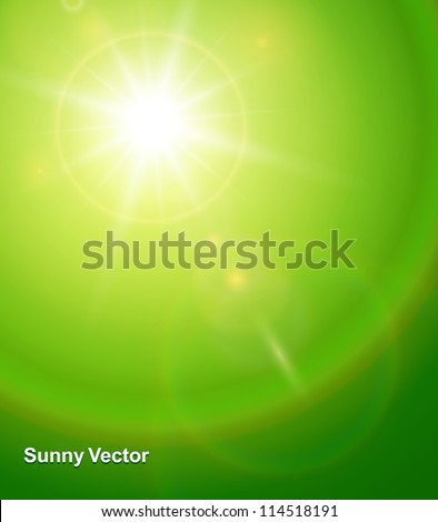 Natural background with vector sun and lens flare. - stock vector