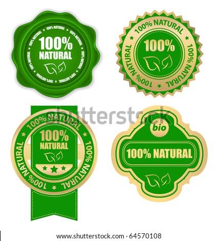 natural bio design elements set - stock vector