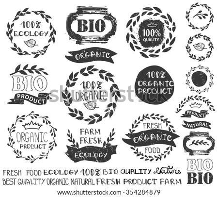 Natural,bio,eco logotype creator.Vector ecology logo,badges, labels set,ribbons,isolated elements,laurel wreath,frames,lettering titles.Floral Organic design template,menu.Hand drawing stamps - stock vector