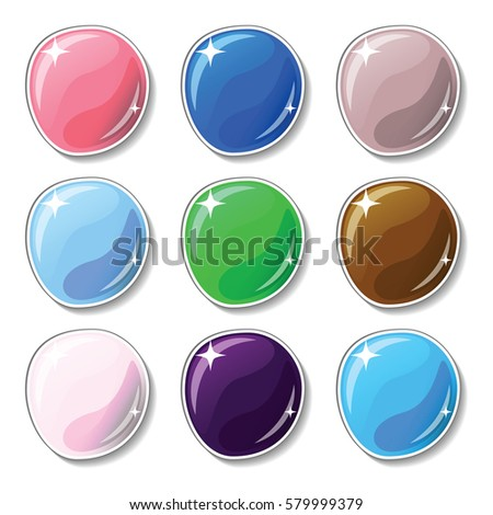 Natural colored buttons with glass surface effect. Blank vector buttons set for web design or game graphic. Colorful marbles on white background. Empty bubbles for text or word. Board pins isolated