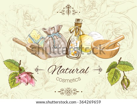 Natural cosmetic banner. Design for cosmetics, make up, store, beauty salon, natural and organic products. Vector illustration  - stock vector