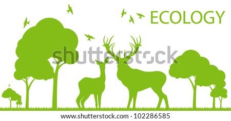 Natural deer ecology concept vector background landscape - stock vector