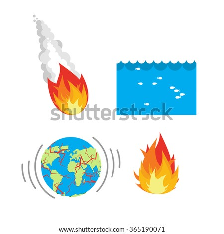 Natural disaste rplanet Earth. Meteorite flies to Earth. Flood, flooding. Earthquake split Earths crust. Crack planet Earth. Fire is sign fire. Disasters people. threat to civilization. Danger planet  - stock vector