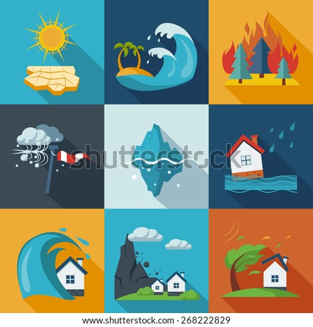 Natural disaster catastrophe and crisis icons flat set vector - stock vector