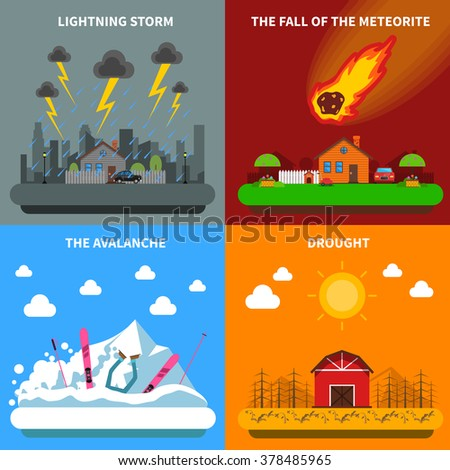 Natural disaster concept 4 flat icons square composition banner with meteorite and drought abstract isolated vector illustration - stock vector