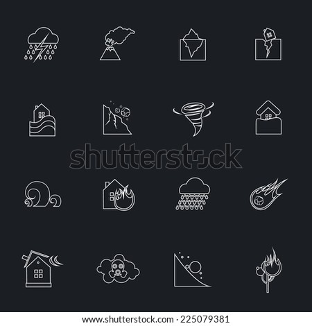 Natural disaster danger outline icons set with tsunami snow thunderstorm isolated vector illustration - stock vector