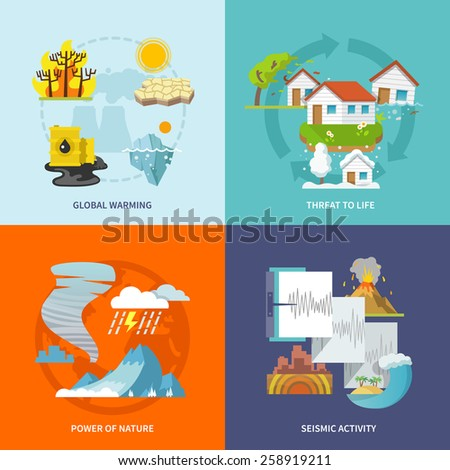 Natural disaster design concept set with global warming life threat power of nature seismic activity flat icons isolated vector illustration - stock vector