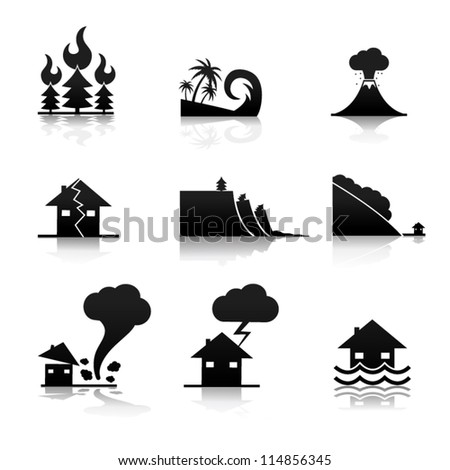Natural Disaster Icons - stock vector