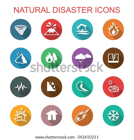 natural disaster long shadow icons, flat vector symbols - stock vector