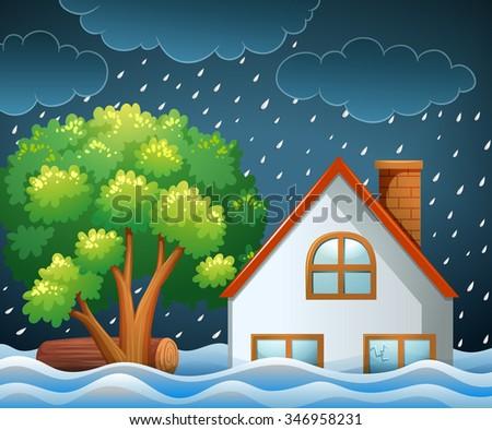 Natural Disaster Scene Flooding Illustration Stock Vector