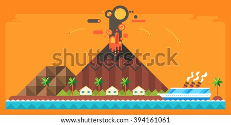 Natural disaster - the eruption of the volcano. Island Village. Tropical island. cruise ship rescues in distress. - stock vector