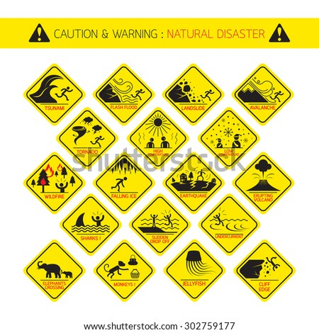 Natural Disaster Warning Signs Caution Danger Stock Vector Royalty