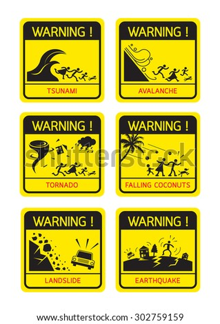 Natural Disaster Warning Signs, Family Running, Caution, Danger, Hazard Symbol Set - stock vector