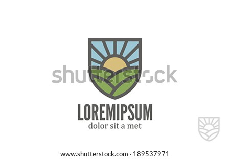 Natural Eco Farm vector logo design template. Bio ecology organic products icon. Agriculture emblem. - stock vector