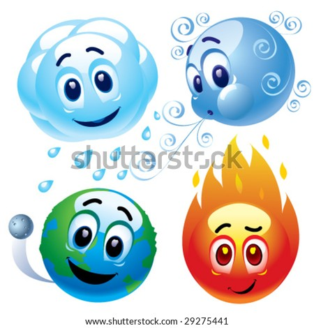 natural elements water, wind, earth and fire - stock vector