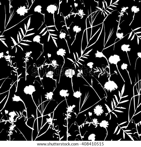 natural floral seamless pattern Graphic collection with leaves and flowers elements. Spring summer design for invitation, wedding or greeting cards. white silhouette, Black background. Vector - stock vector