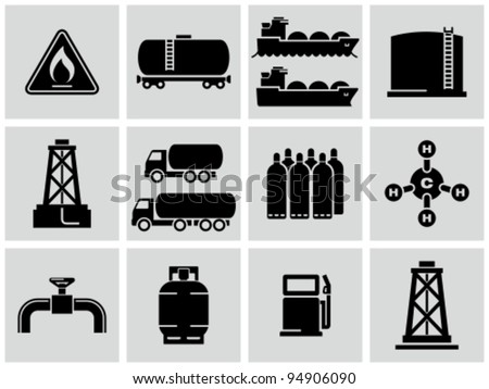 Natural gas icons set. - stock vector