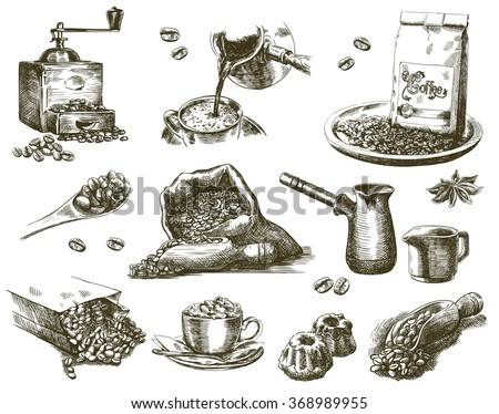 natural grain coffee - stock vector