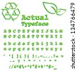 Natural - Grass-like typeface with recycling and leaf symbols, same style - stock vector
