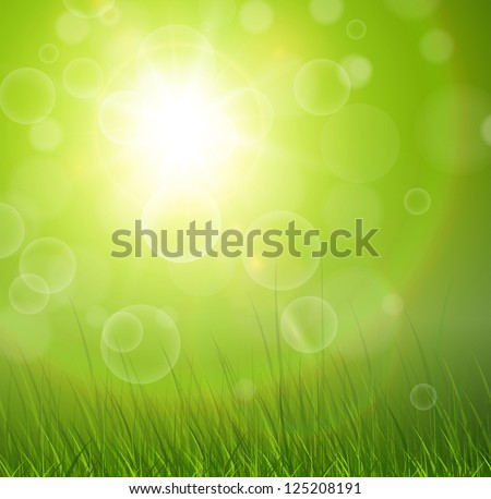 Natural green background with vector sun and grass. - stock vector