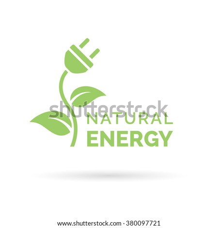 Natural green eco energy icon with electric plug, plant and leaf symbol. Vector illustration. - stock vector