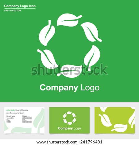Natural green leaf company logo with business card design. Natural product symbol. Eco leaves icon. Editable EPS vector. - stock vector