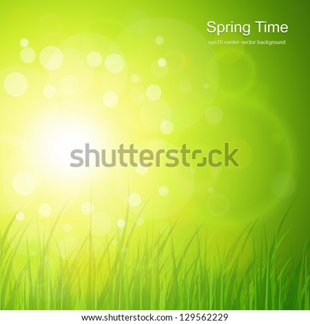 Natural green, sunny background. - stock vector