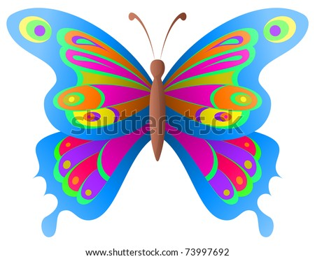 Natural image, beautiful butterfly with opened various wings - stock vector