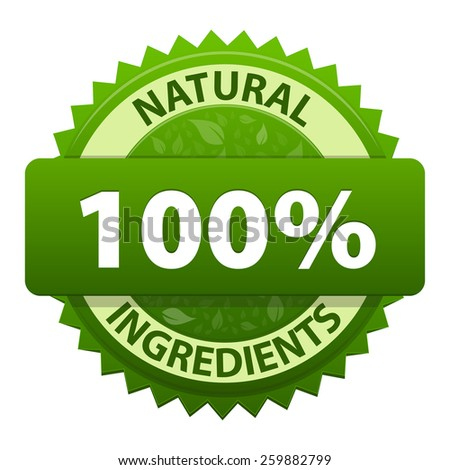 Natural Ingredients 100 percent green label sticker icon isolated on white background. Symbol of healthy food. Vector illustration - stock vector