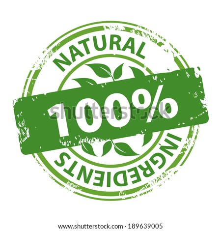 Natural Ingredients 100 percent green rubber stamp icon isolated on white background. Vector illustration - stock vector